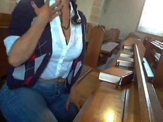 Oily Girl Masturbating In Church