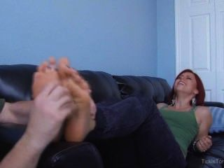 Redhead Ivy Massaged And Feet Tickled