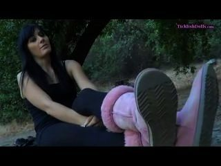 Amateur toetied hogtied feet up tickled 9