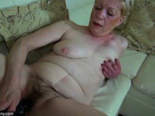 Old Mature With Big Dildo Masturbate Together