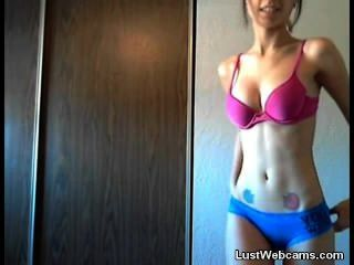 Busty Amateur Girl Does A Perfect Striptease On Webcam