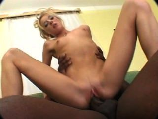 Blonde Takes Black Cock In Her Pussy And Ass On The Sofa