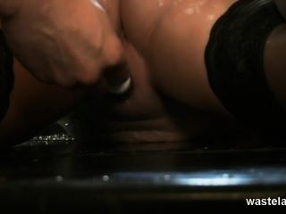 Tied Blonde Slave Gives Master A Footjob Til He Cums Over Her Feet