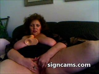 Nasty Granny Fucks Her Mature Pussy With Big Sex Toy On Webcam
