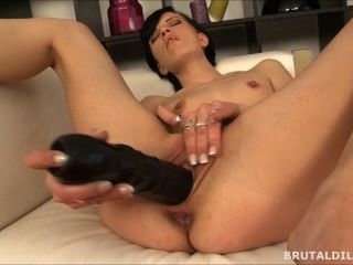 Brunette Fucking Her Pussy And Asshole With A Big Black Brutal Dildo In Hd