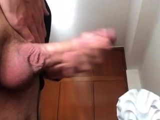 Guy With Shaved Big Cock Head Cums At Home