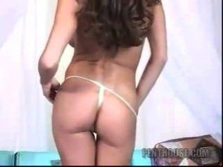 Hot Brunette Big Tits Stripping