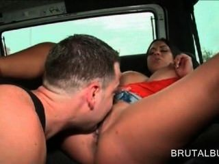 Big Titted Amateur Cunt Licked Good In The Sex Bus