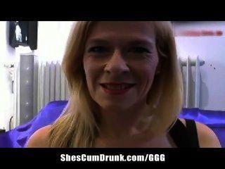 Busty Milf Blond Rubs Her Pierced Pussy