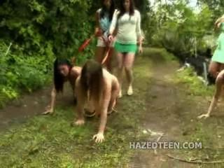 Naked Teen Girls Group Fun Outdoor