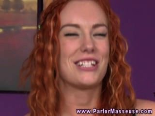 Ginger Masseuse Blows Her Clients Hard Dick During His Session
