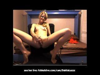 Stoner Fucks Her Pussy On Webcam