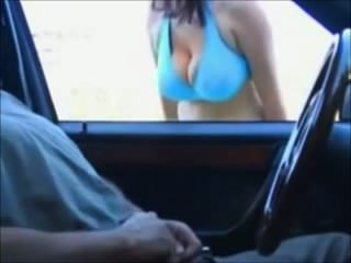 Busty Slut Sucks Cock Threw Car Window!