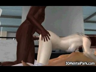 A Hot Cartoon Babe Gets Fucked By A Black And White Guy