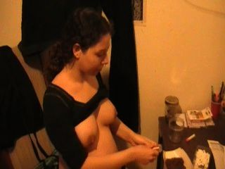Pregnant Young Girlfriend Shows Her Ass And Big Tits