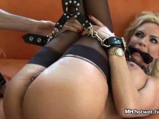 Chained Diamond Foxx Gets Tool, Vibrator And Cock