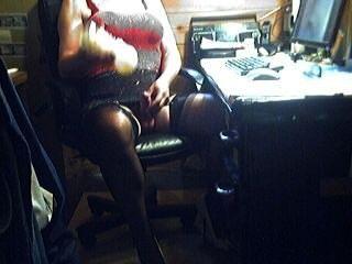 Short Crossdresser With Fleshlight In Red And Black