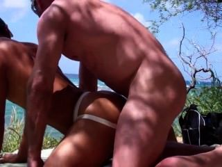 Muscled Dude Fucks An Asian On The Beach