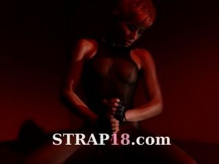 Fairhair Masturbating With Her Strap On