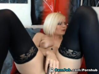 Sexy Blonde Slut Playing With Her Dildo