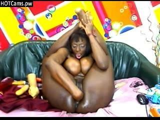 Big Tits Ebony Toying Her Ass And Pussy