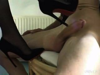 Sexy Girl Giving Heeljob In Black Heels