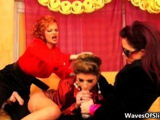 Nasty Brunette Sluts Go Crazy Jerking Part3
