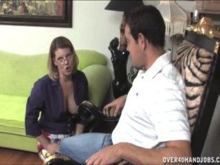 Naughty Milf Gives A Topless Handjob