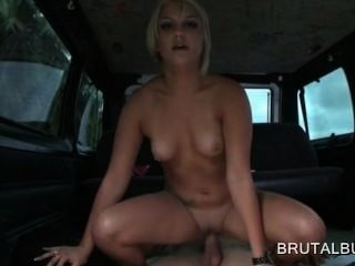 Gorgeous Blonde Proves Cock Riding Skills On The Sex Bus Floor