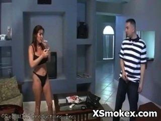 Hottie Girl Romantically Smoking Porn