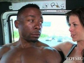 Sweet African Boy Seduced By A Busty Tramp In The Bus
