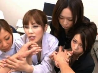 Pov Fivesome. Nurse, Office Girl And Glasses
