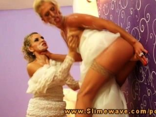 Two Blonde Brides Getting A Cum Shower