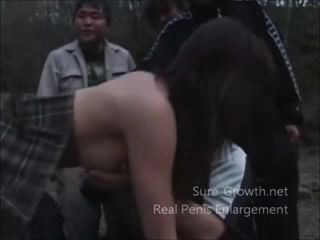 Asian Teen Gets Gang Banged In The Woods