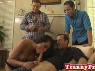 Tranny Slut Gang Banged And Double Anal Fucked!