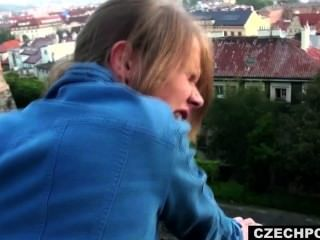 Public Sex, Public Blowjob. Czech Couple Fucking Outside