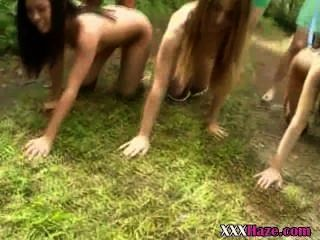 College Sorority Pledges Leashed Up Naked Outdoors