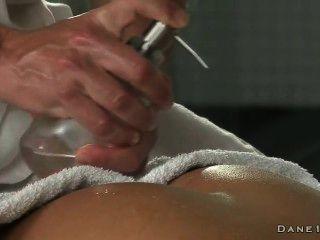 Hot Brunette Gets Rimming By Masseur