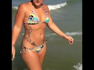 Thick White Chick At The Beach