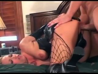 Sexy Babes In Latex Gloves Shiny Corsets And Fishnet Stockings Fucking
