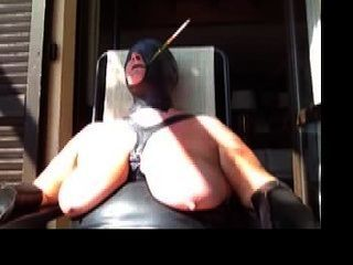 Subaugusta Bound In Public Hooded And Smoking With Holder