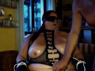 Subaugusta- A Submissive Smoker Smoking With Holder, Tied, Blindfolded