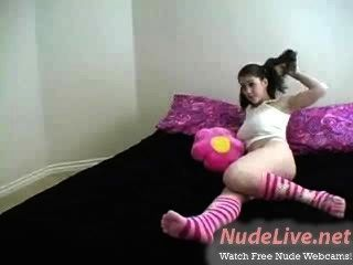 Very Hot Amateur Russian Teen In Pigtails And Socks Bates On Webcam