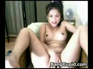 Hot Asian Babe Stroking Her Pussy