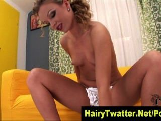 Blonde Hoe Shaves Her Hot Hairy Box In Fetish Solo In Hi Def