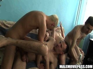 Four Studs Have Some Drinks Before Having Group Sex
