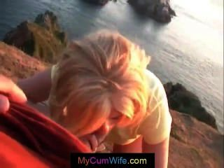 Blonde Wife Is Giving Her Husband A Pov Blowjob And Gets Cum