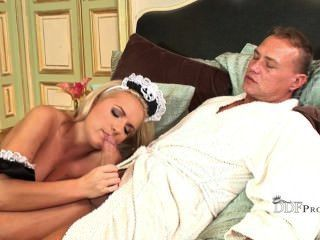 Blonde Maid Serves Breakfast In Bed
