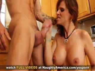 Milf Syren De Mer Shows Off Her Big Tits And Fucks Her Son S Friend On The