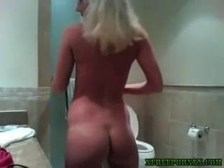 Blonde Babe Teasing In Bathroom